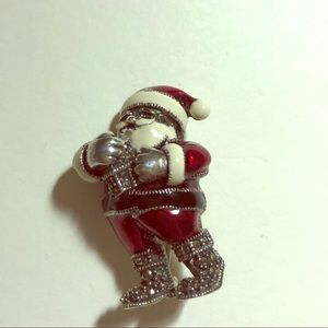 Sterling silver Judith jack Santa brooch